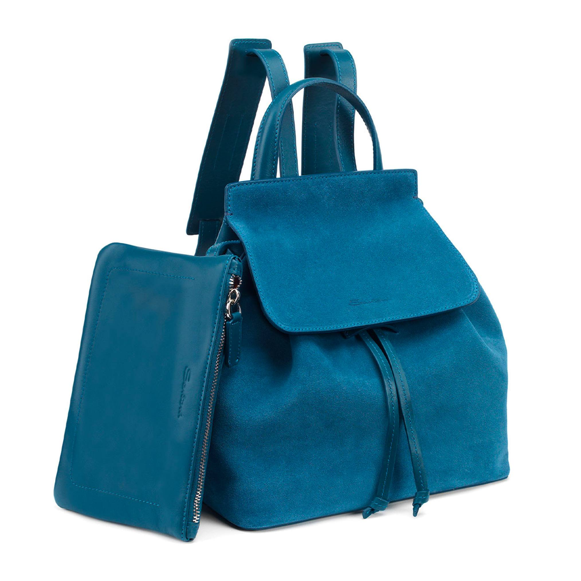 Santoni Backpack in blue suede and leather