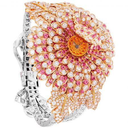 "Van Cleef & Arpels ""Chrysantheme Secret"" timepiece featuring diamonds, pink sapphires and spessartite garnets set in 18K yellow, white and rose gold"