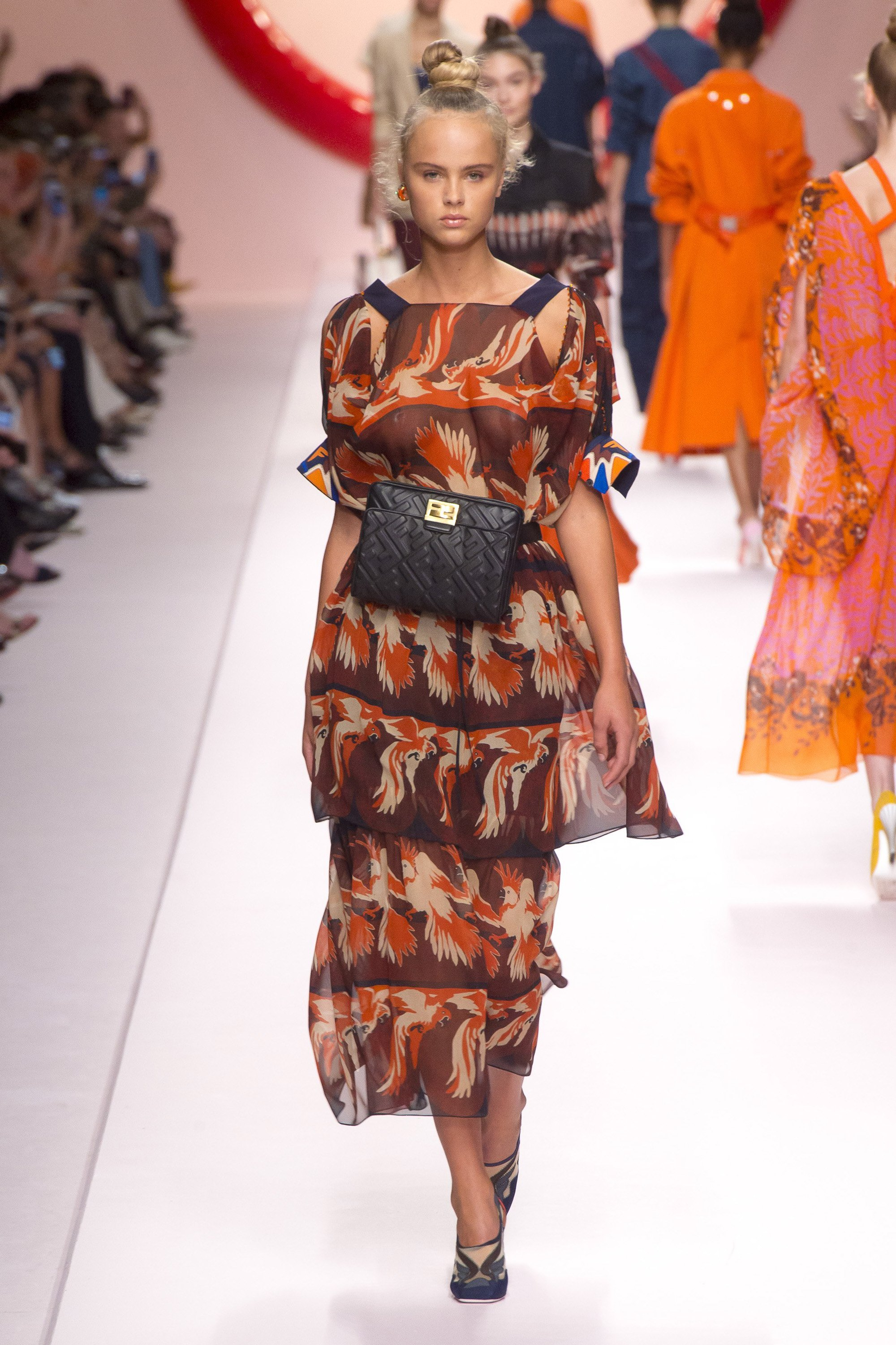 Fendi Spring 2019 runway look, gown with bird print in burnt orange and brown and black belt bag