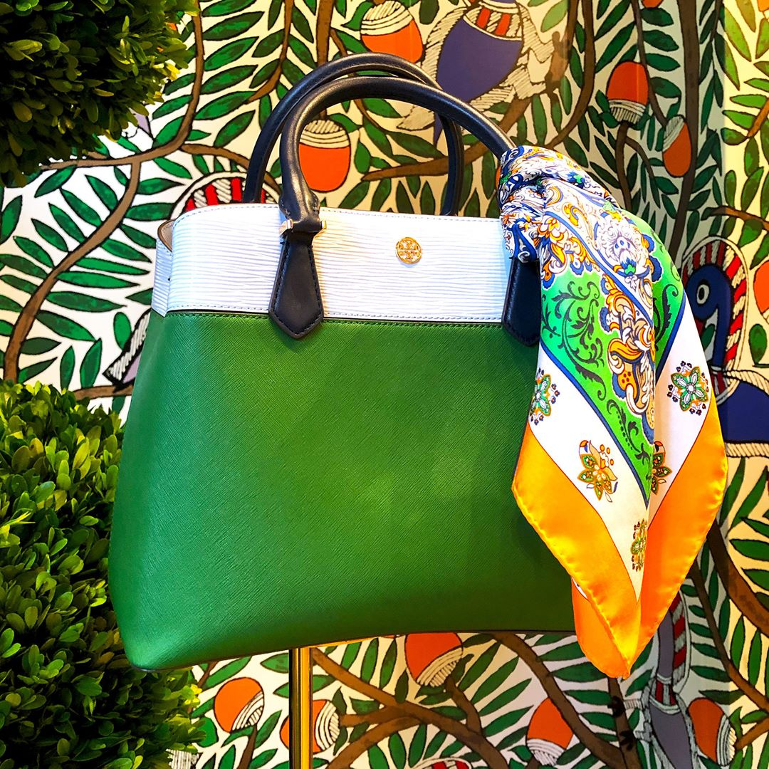 Tory Burch Robinson Color Top-Handle Bag in green and white with decorated scarf accessory