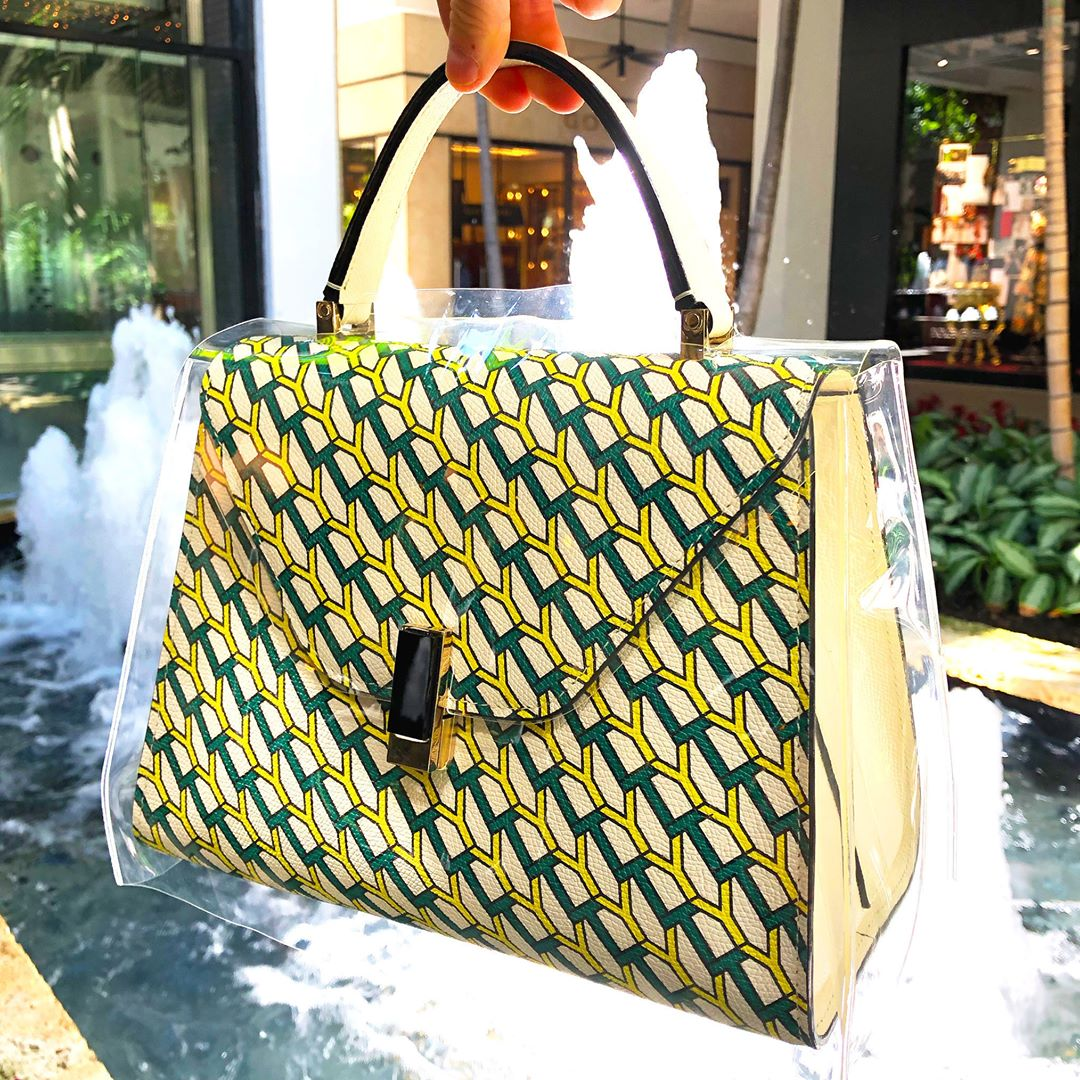 Valextra NoLogoMyLogo Raincoat handbag with green and yellow monogram print