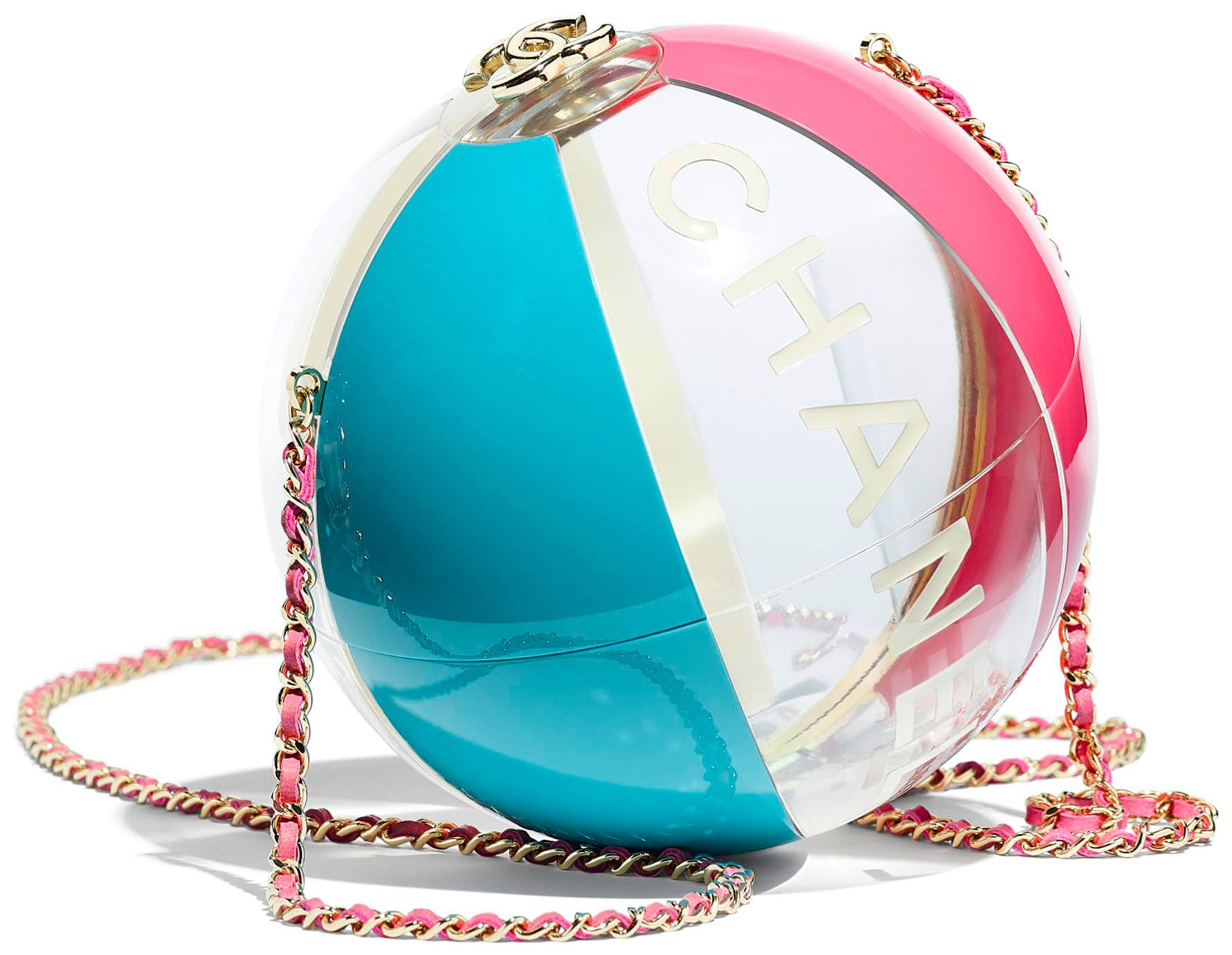 Chanel beach ball minaudiere in turqoise, pink resin and gold-tone metal