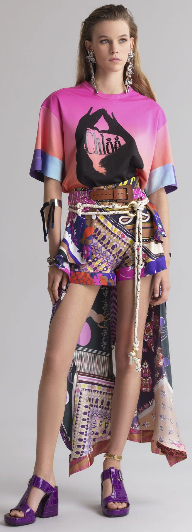 Multicolor Chloé shorts with pareo
