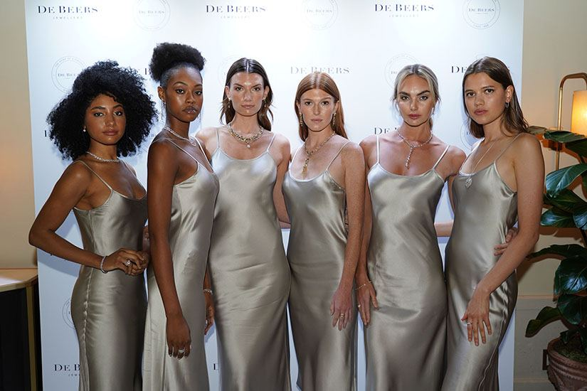 Models wearing De Beers jewelry at Le Sirenuse Miami for opening celebration for Bal Harbour boutique