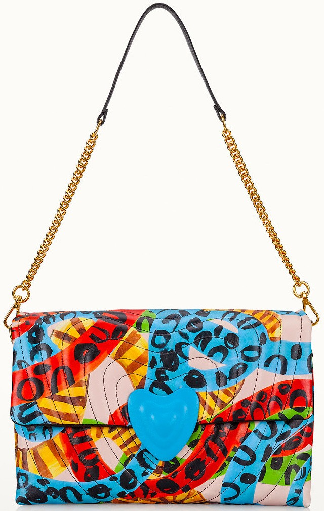 Printed Leather Heart Bag by Escada