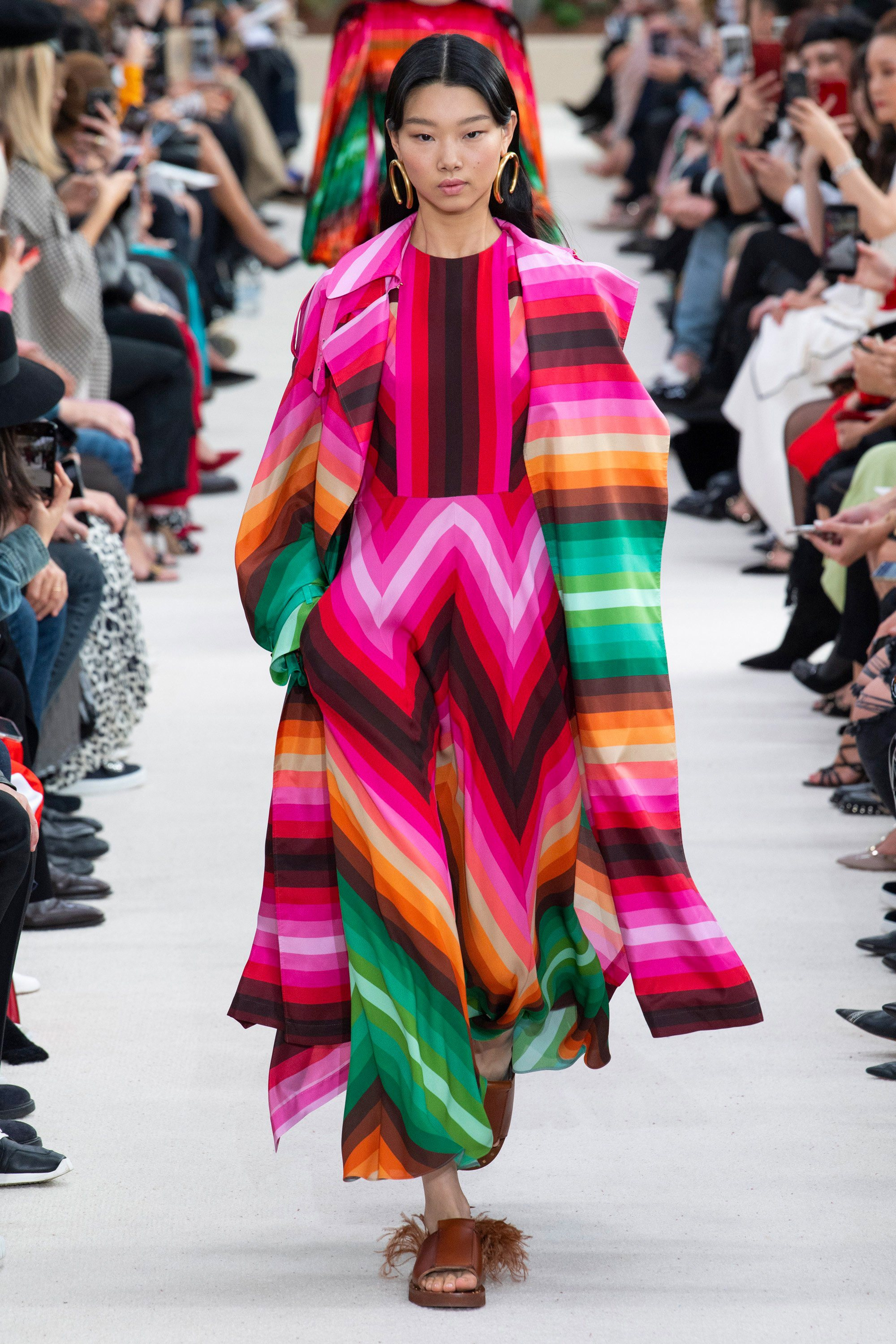 A multicolor runway look from the Valentino Spring 2019 runway