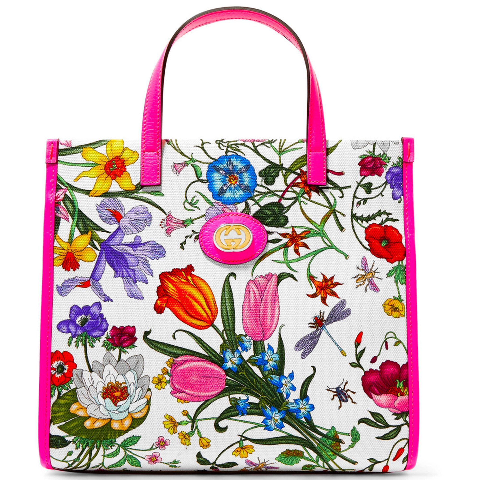 Gucci Medium Flora Tote Bag with Flower Patter