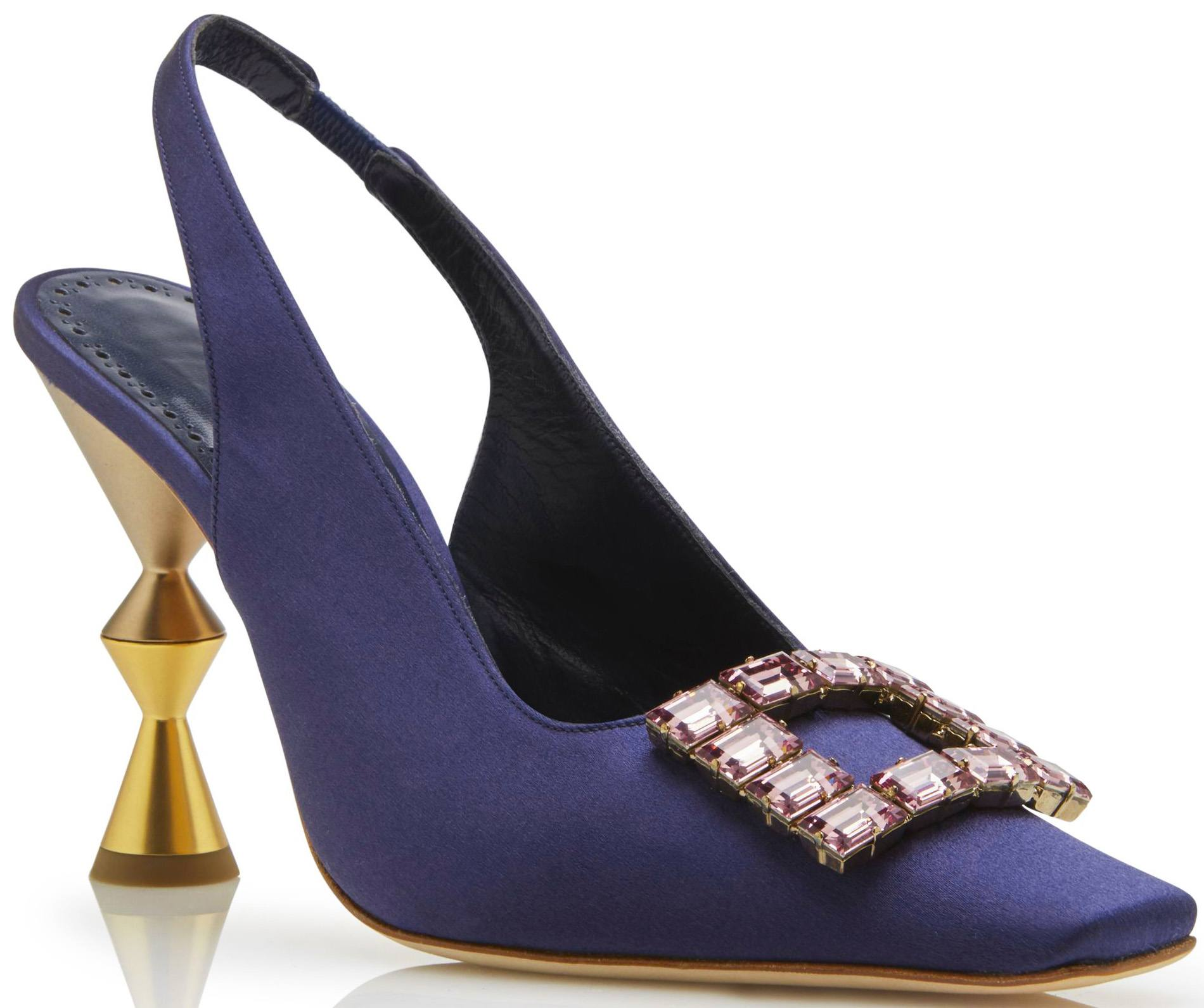 Navy Blue Satin Anazeh Slingback by Manolo Blahnik at Saks Fifth Avenue Bal Harbour