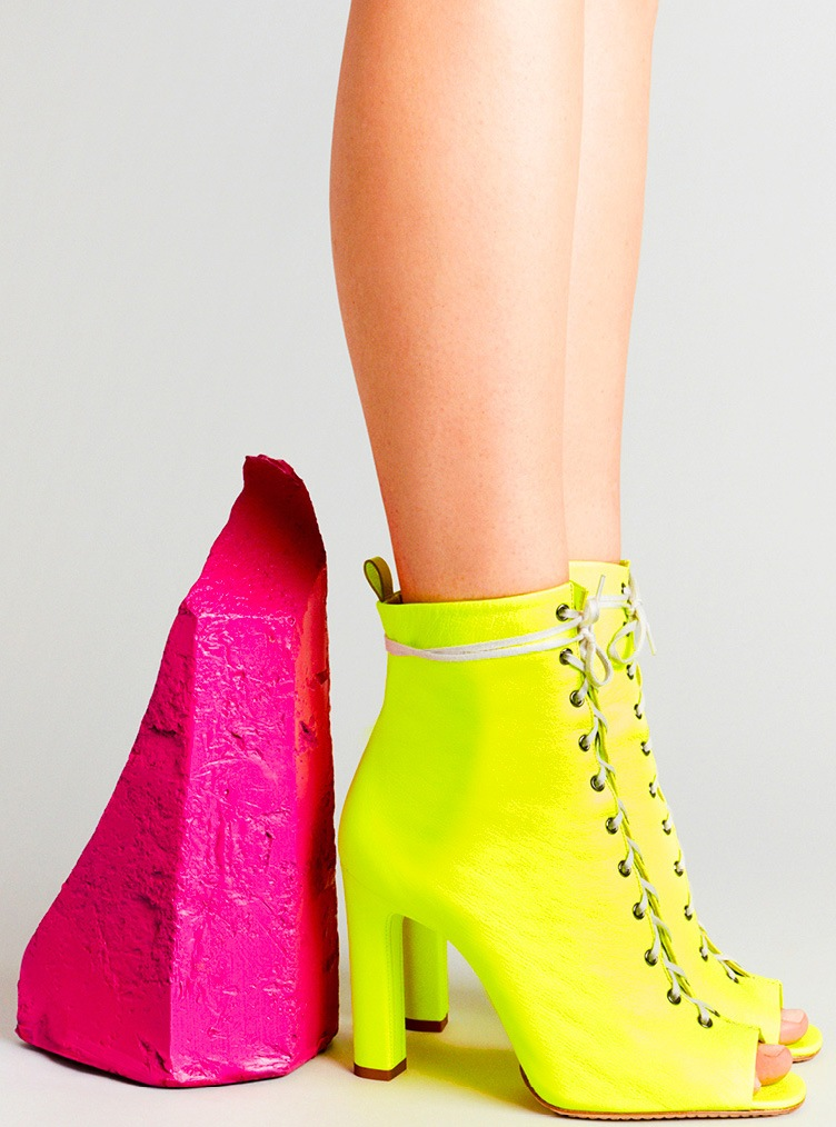 Laced Up Ankle Boot in Lime Leather by Santoni