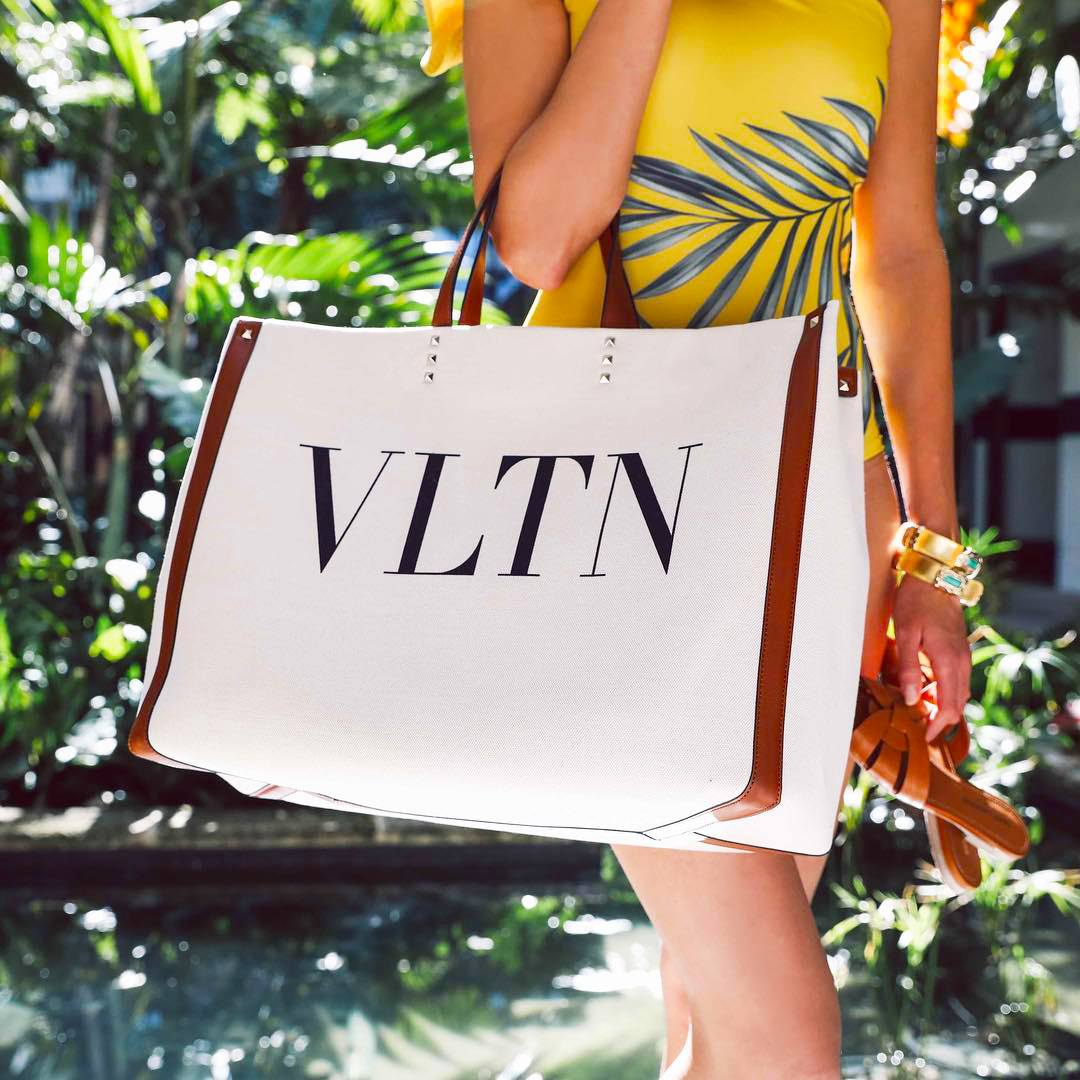 Valentino VLTN Canvas Shopping Bag in white