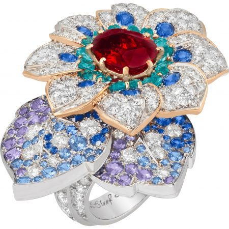 """Azalée d'Orient"" ring from the ""Treasure of Rubies"" collection featuring a 3.58-carat cushion-cut ruby, blue and mauve sapphires, green tourmalines and diamonds set in 18K white and pink gold by Van Cleef & Arpels"