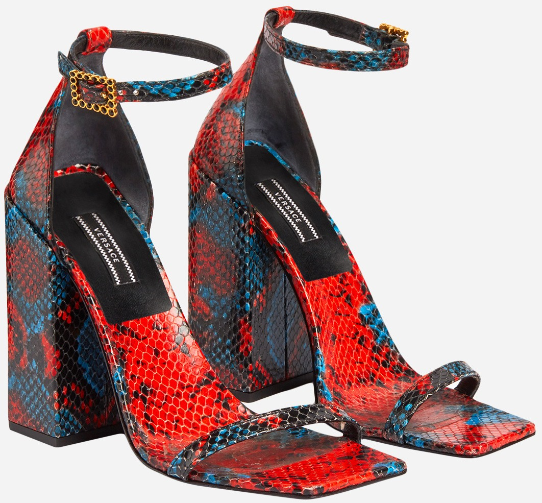 Red and Blue Mock Python Print Leather Sandals by Versace