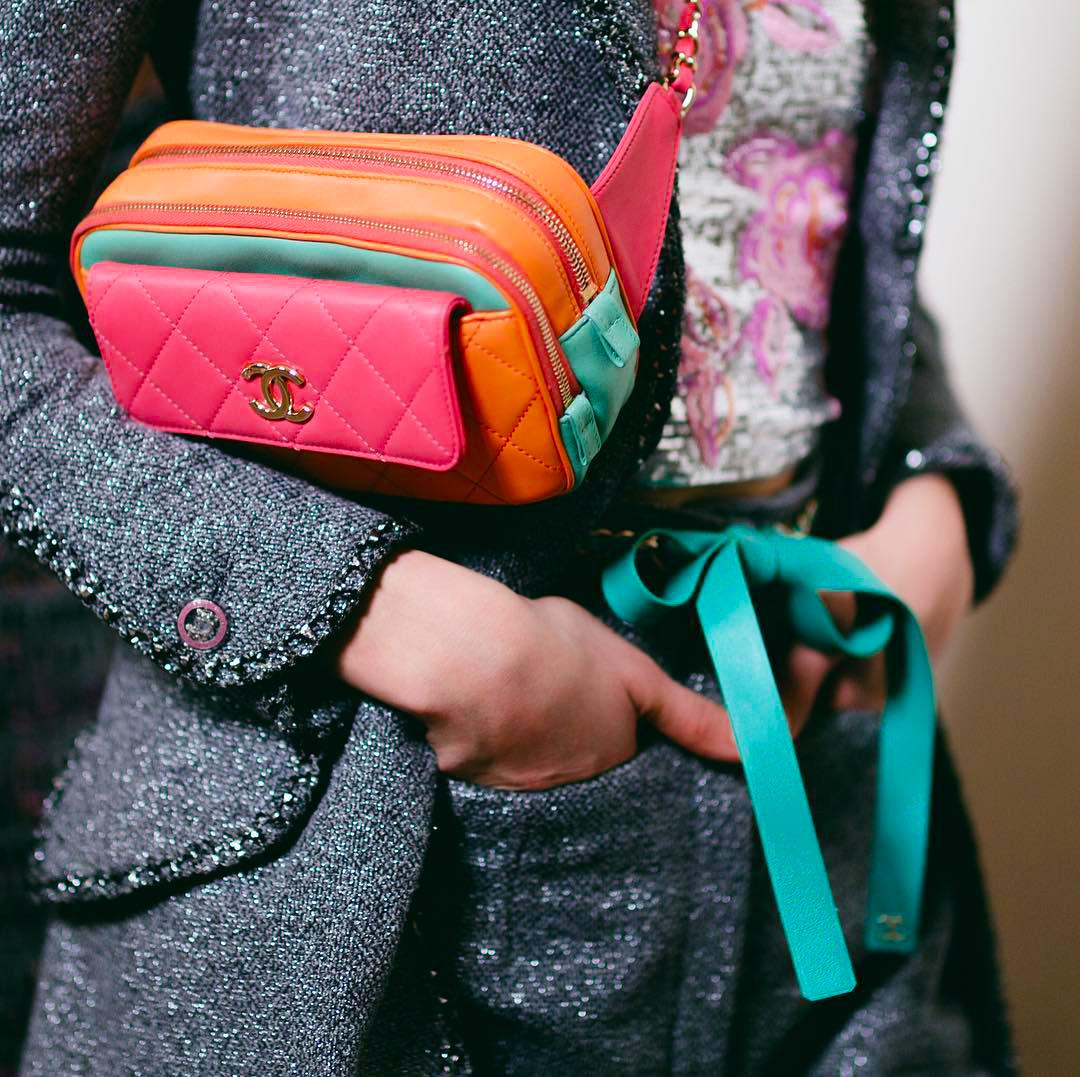 Chanel quilted belt bag in orange, pink and turquoise