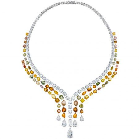 De Beers Jewellers high jewelry Vulcan necklace featuring three cascading lines of polished round diamonds, fancy colour diamonds and beautiful rough diamonds with five pear-shaped diamond drops