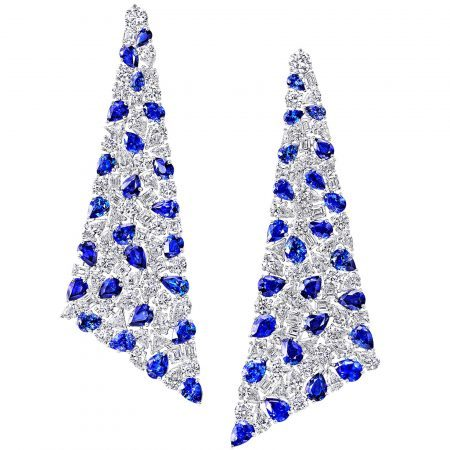 Graff high jewellery sapphire and diamond earrings set with an arresting 47.39 carats of sapphires and 52.24 carats of diamonds, the intricate web of stones is held in place by settings that are almost invisible to the eye, ensuring that the stones are the stars