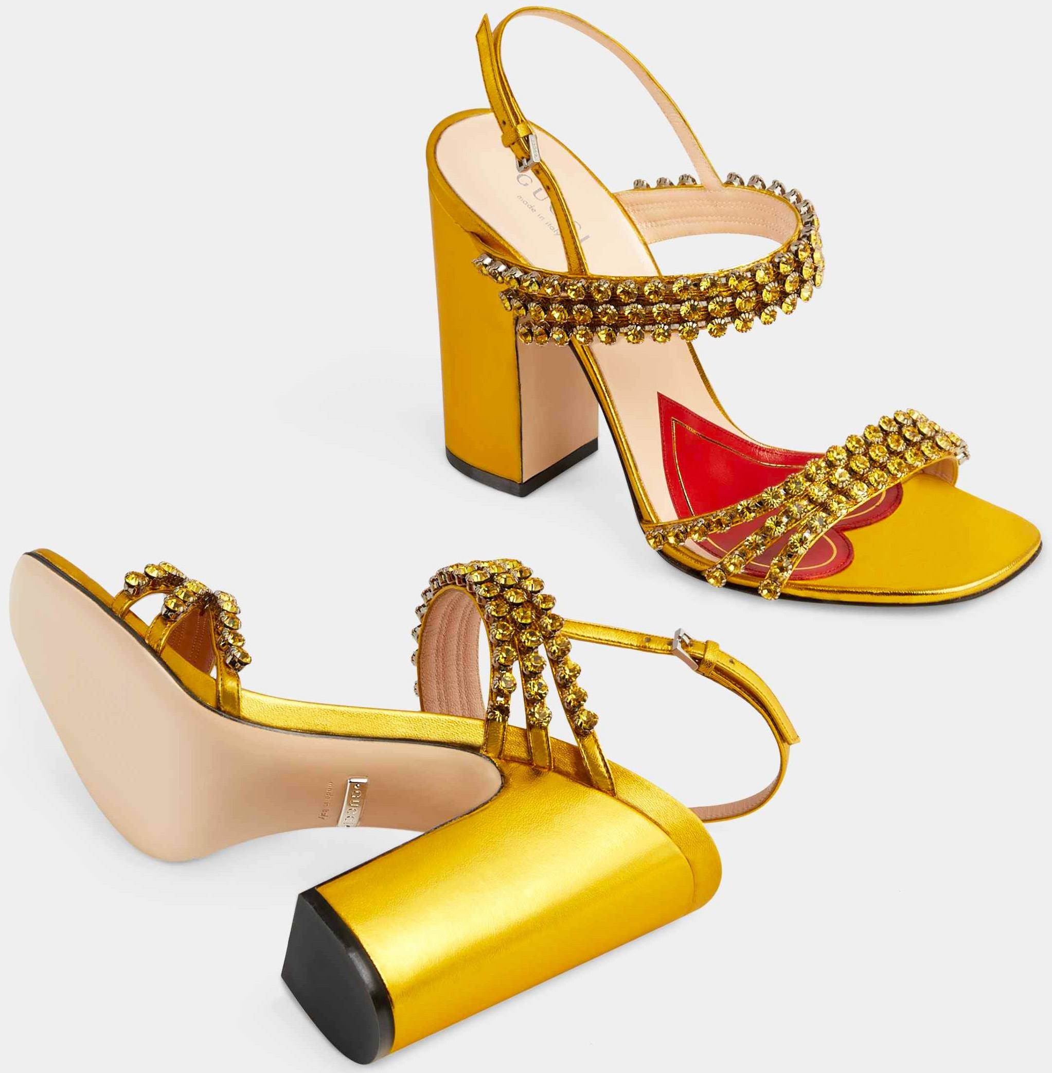 Gucci Metallic Sandal with Crystals in Gold Metallic