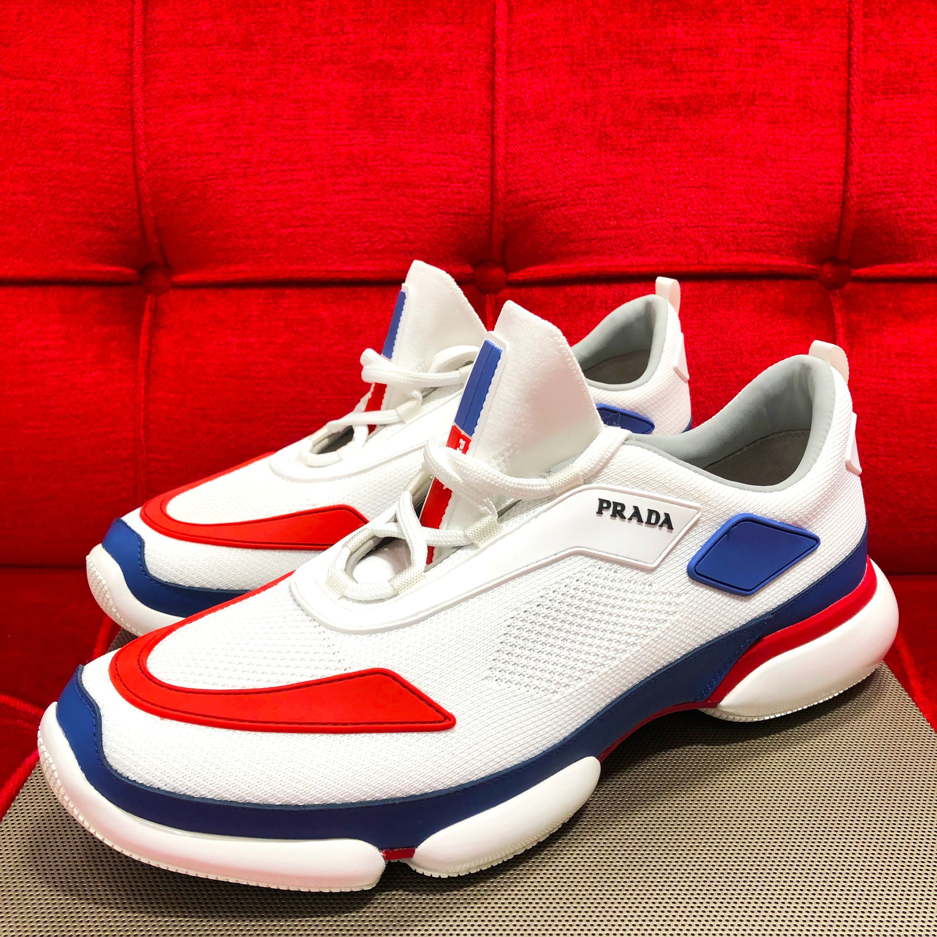 Prada knit fabric Cloudbust sneakers in white and red and blue accents