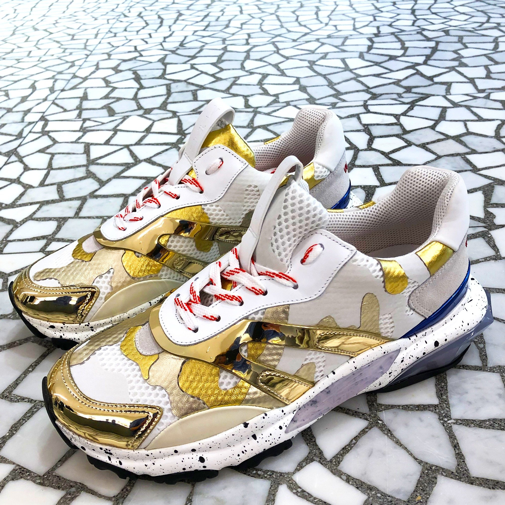 Valentino Camoflauge Bounce Sneaker with gold details