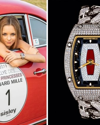 Professional racecar driver Aurora Straus wearing the RM 07-01 full-set on open-link bracelet.
