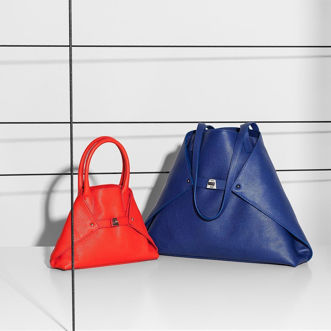 Akris AI Little Messenger Bag in Red and AI Medium Bag in Blue