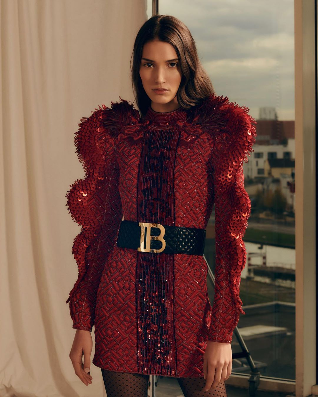 Balmain Red Dress from the Pre-Fall 2019 Balmain Army Collection