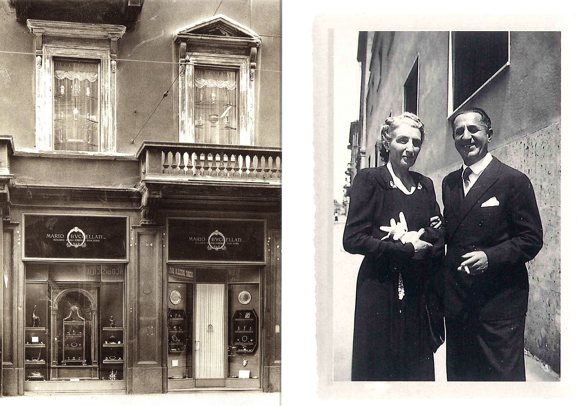 The first Buccellati boutique in Milan in the early 20th century. Mario Buccellati, the founder of the Italian jewelry company Buccellati, with his wife, Maria.
