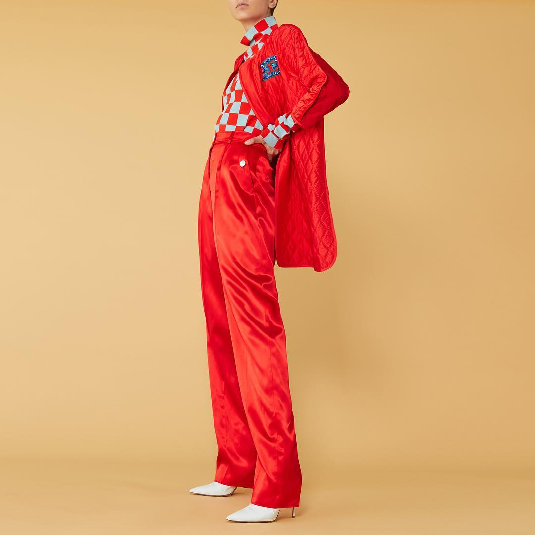 Escada cashmere silk quilted jacket and satin pants