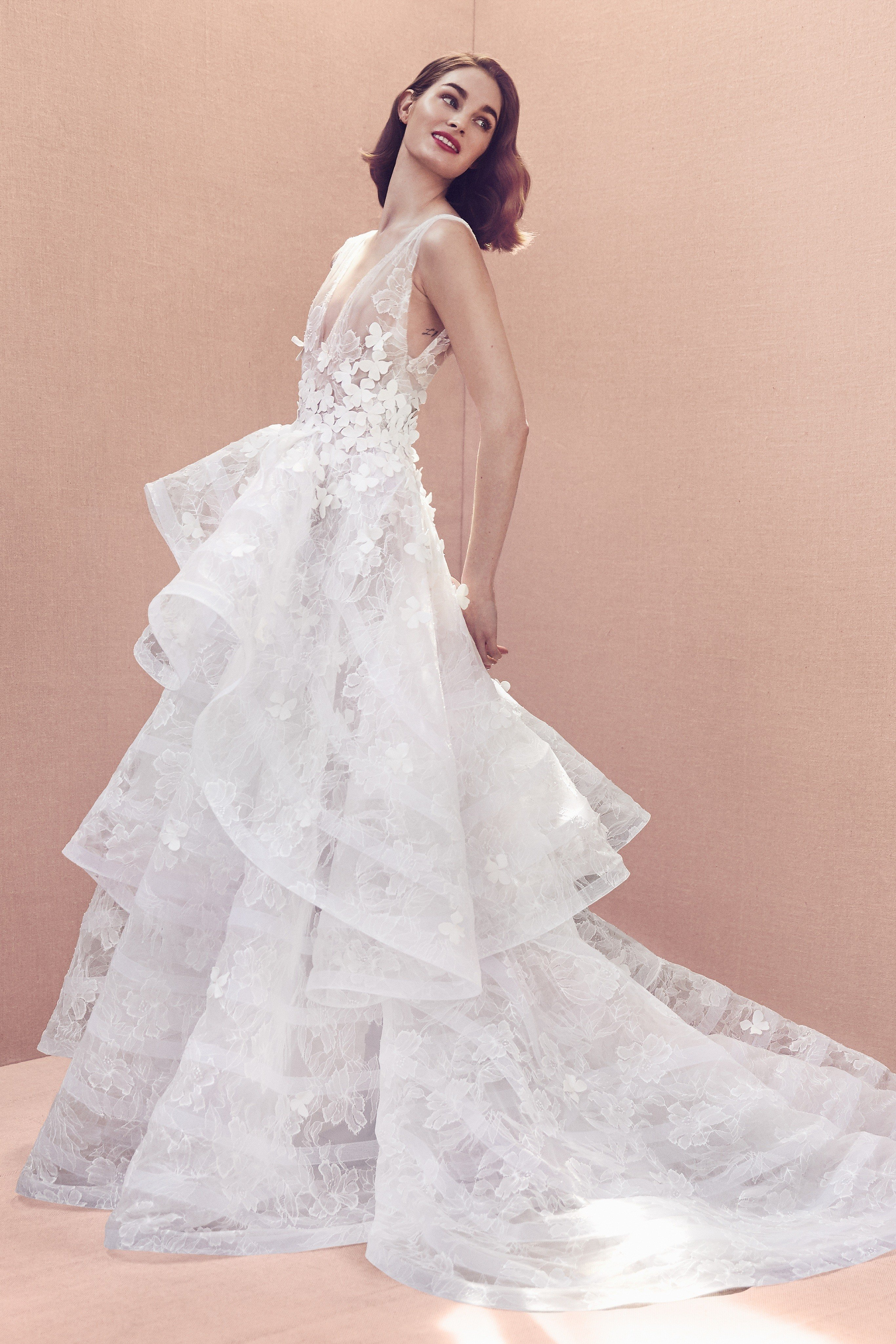 V-neck floral leavers lace ball gown