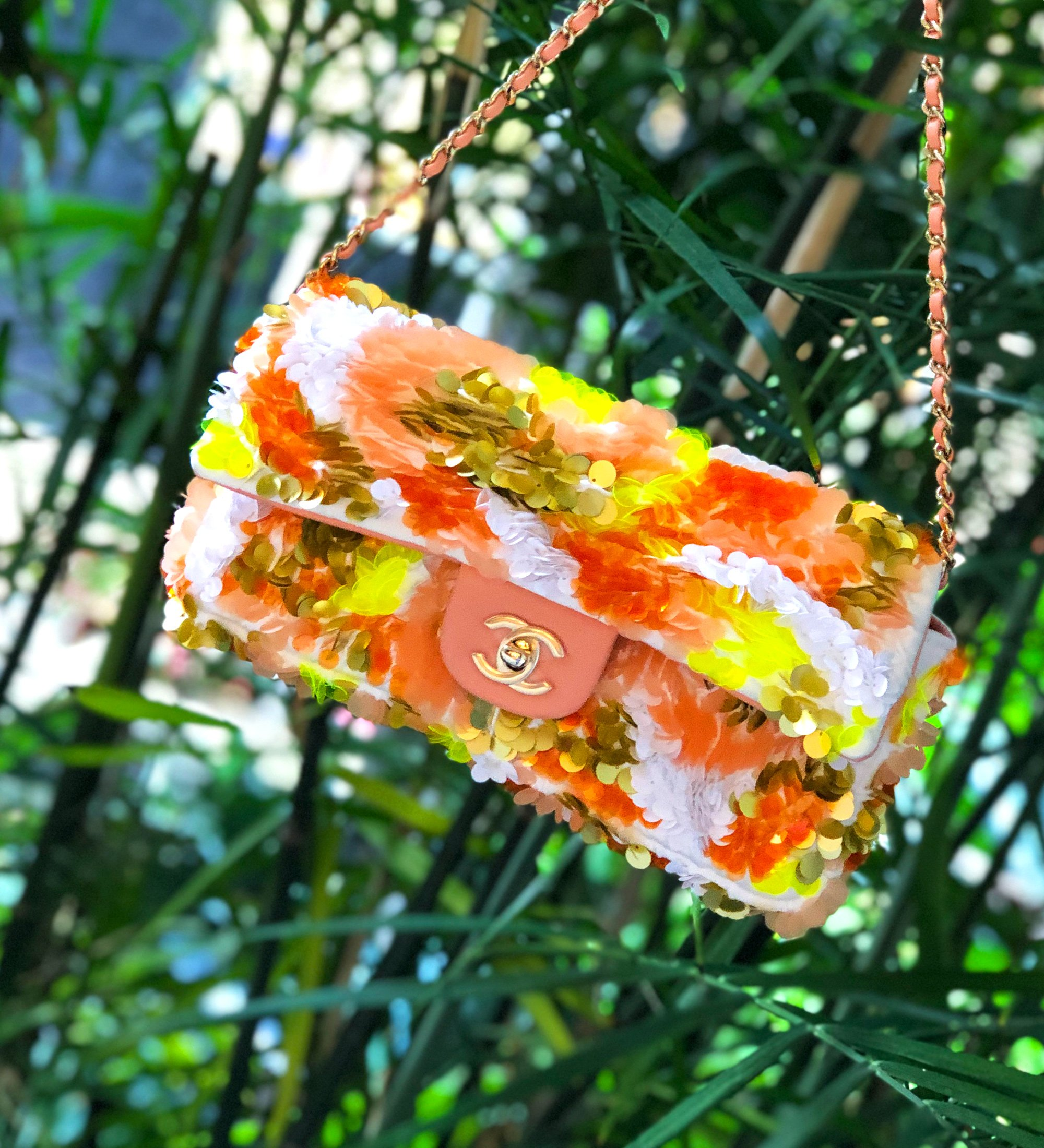 Chanel Sequin Flap Bag with yellow, orange and white sequins