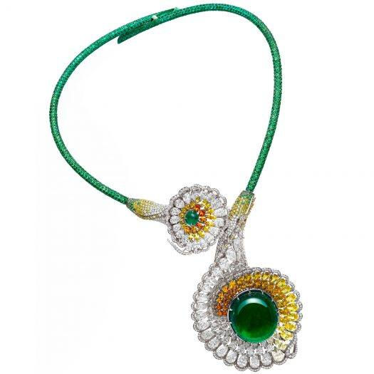 Chopard divine necklace set with emeralds, tsavorites, colored sapphires, yellow diamonds and diamonds