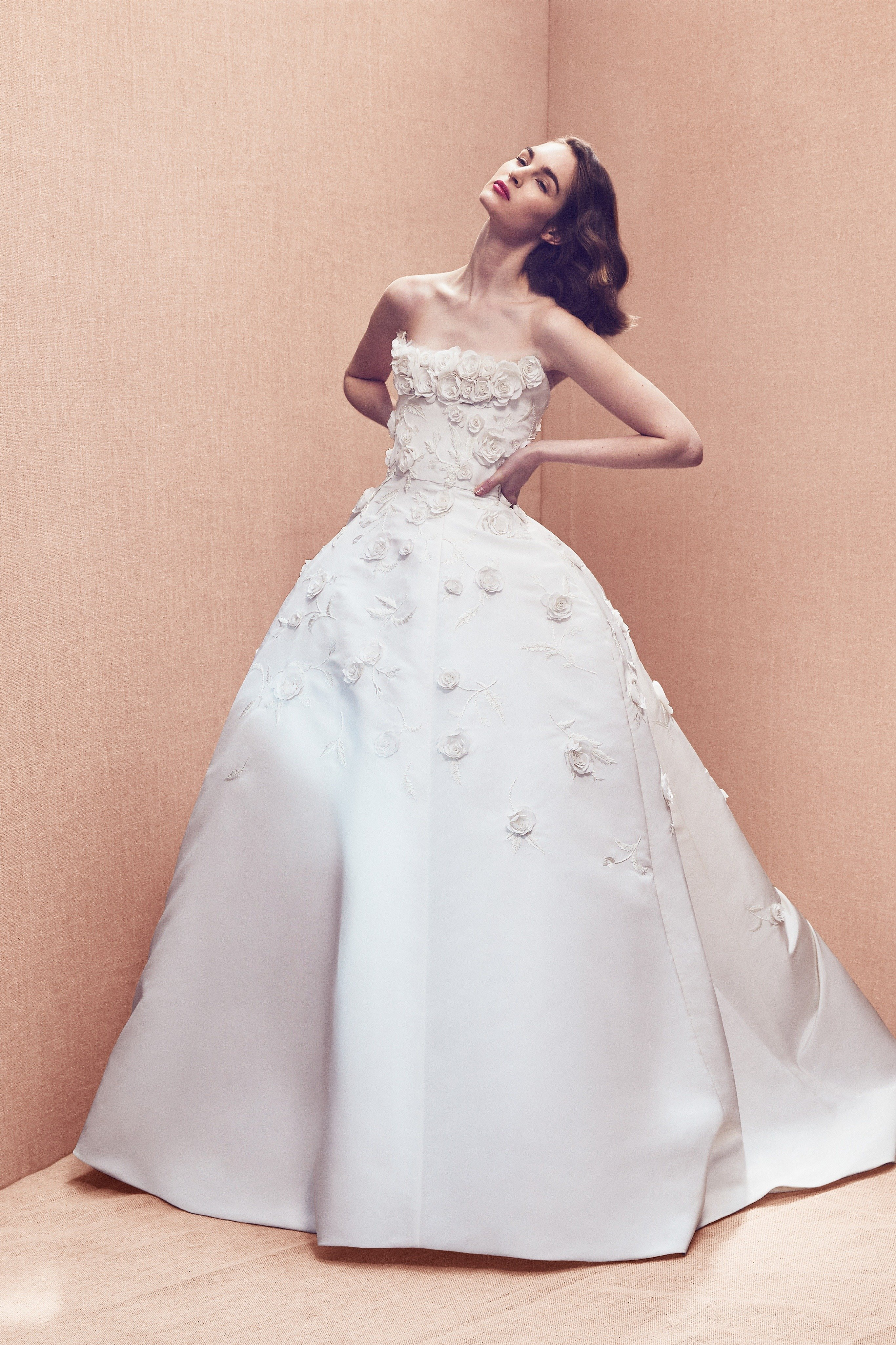 Silk faille ball gown with appliqué embroidery