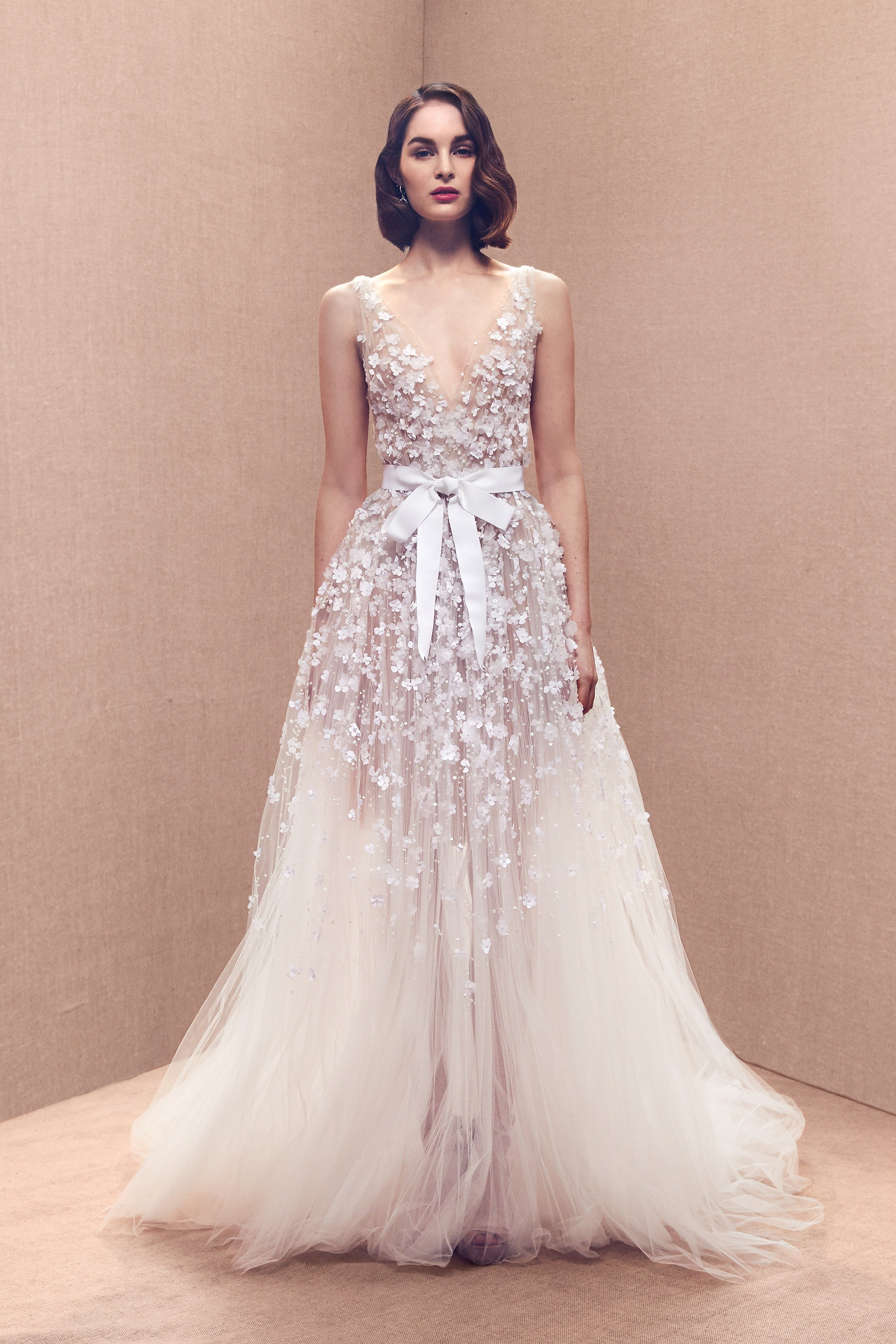 V-neck tulle embroidered gown with sash