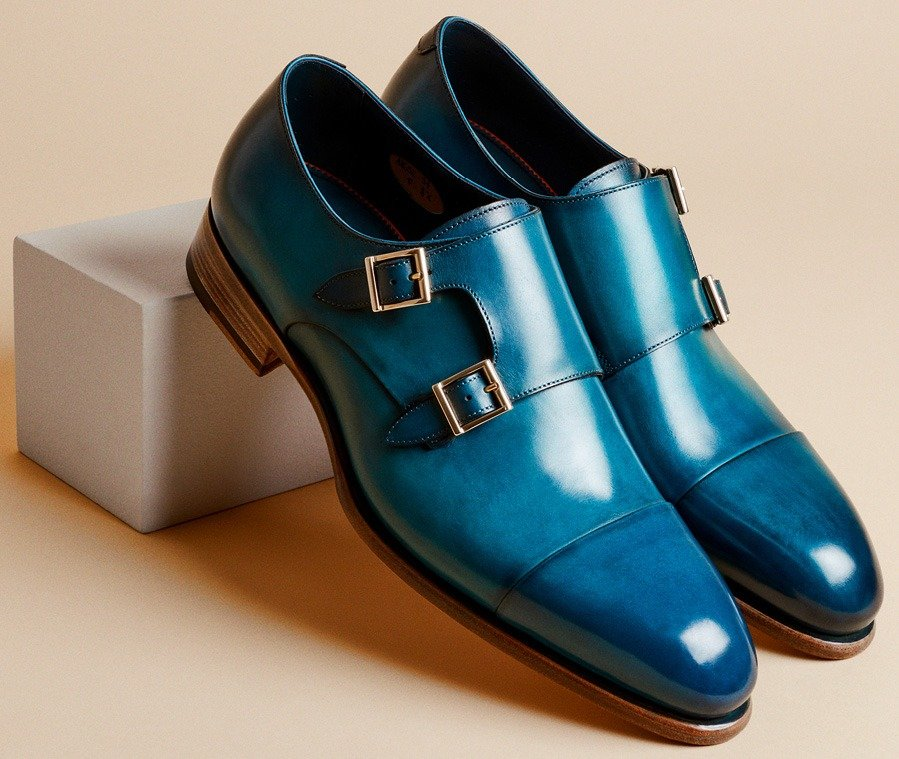 Pastel blue Santoni double-buckle loafer