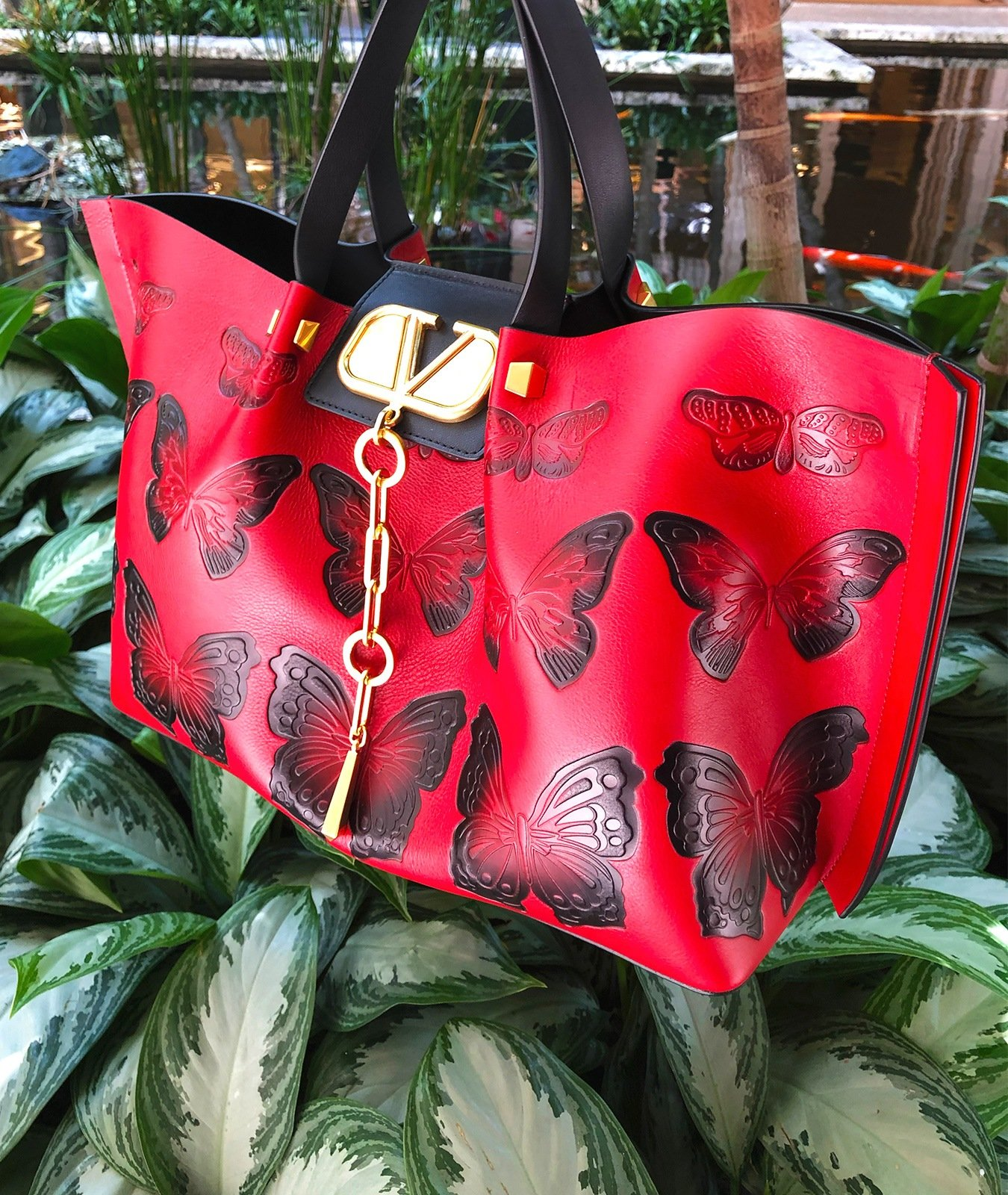 Valentino VLOGO Escape Medium Leather red Shoulder Bag with black Embossed Butterflies