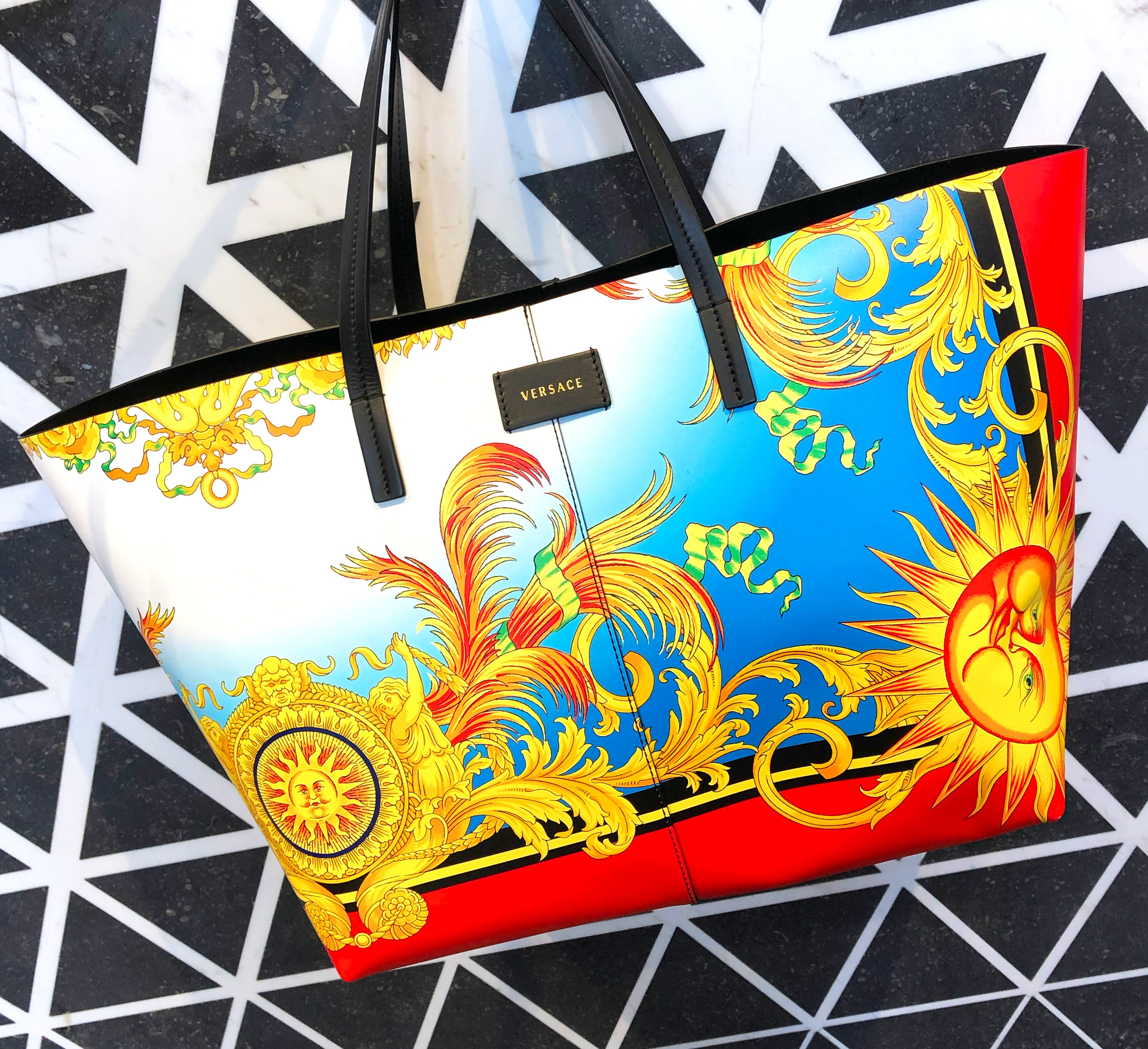 Versace Printed Soft Tote Bag with baroque design