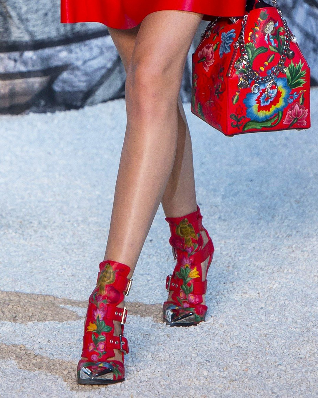 Alexander McQueen Red Caged Ankle Boot