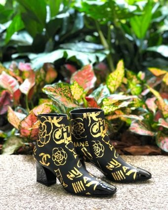 Chanel Ankle Boot in Gold & Black