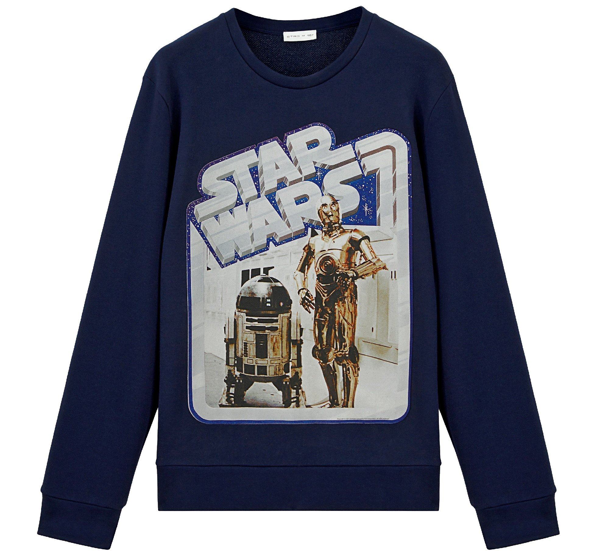 ETRO X STAR WARS black sweater featuring droids R2D2 and C3PO