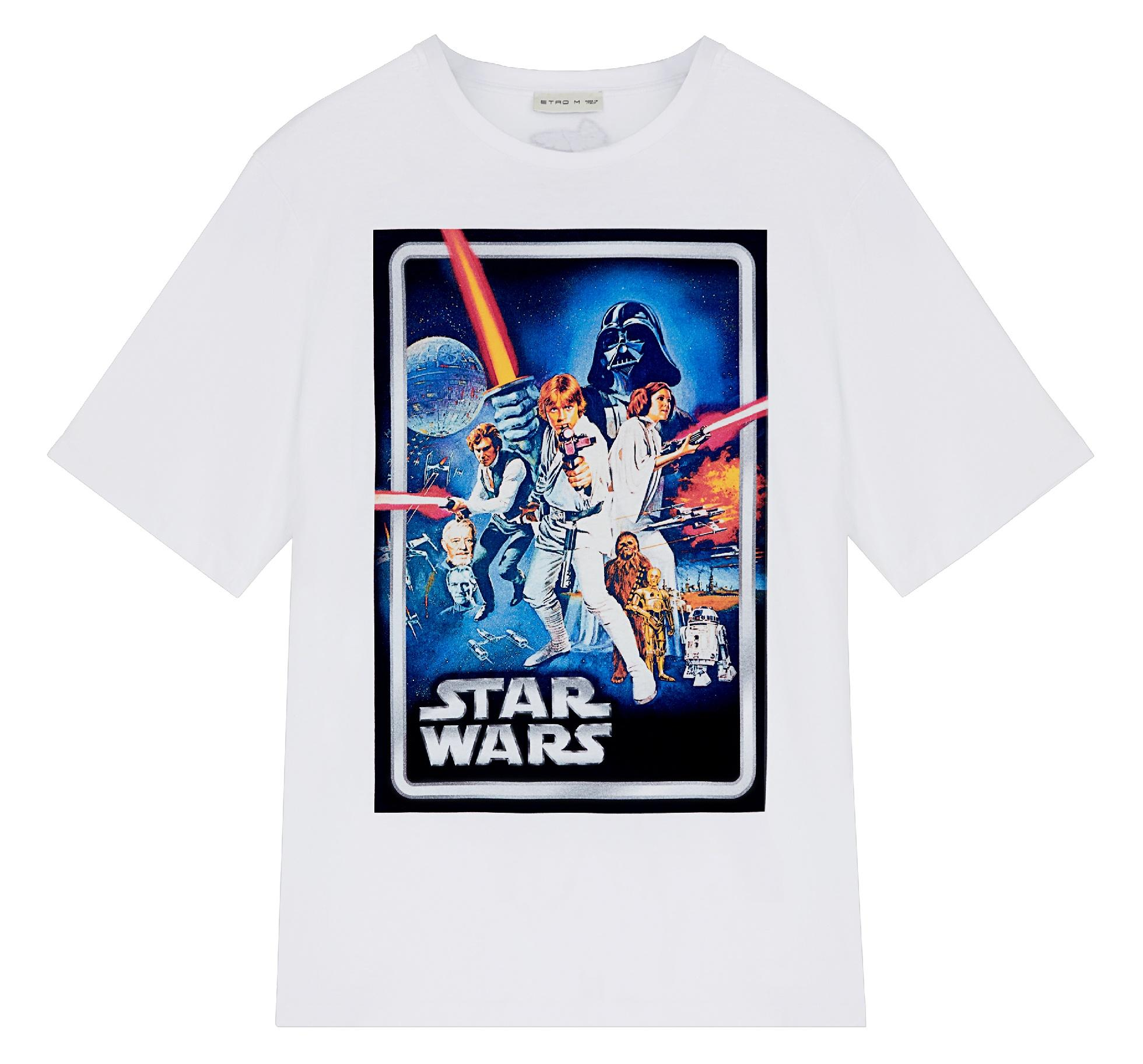 ETRO X STAR WARS white t-shirt featuring a vintage print from the film series.