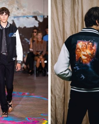 A runway look from the ETRO X STAR WARS Capsule Collection, featuring the black bomber adorned with a vintage print from the film series.