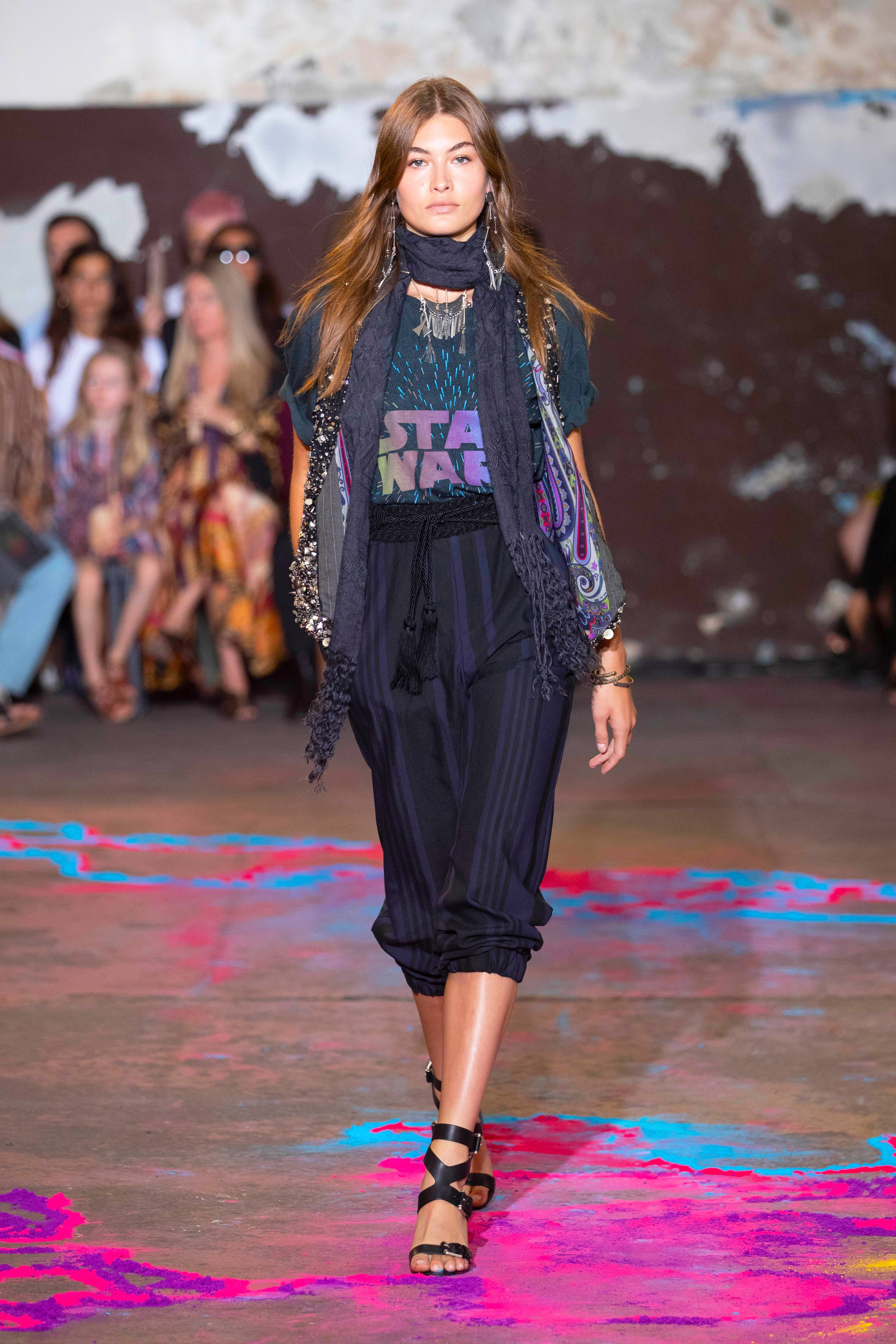 A runway look from the ETRO X STAR WARS Capsule Collection, featuring the black cotton T-shirt.