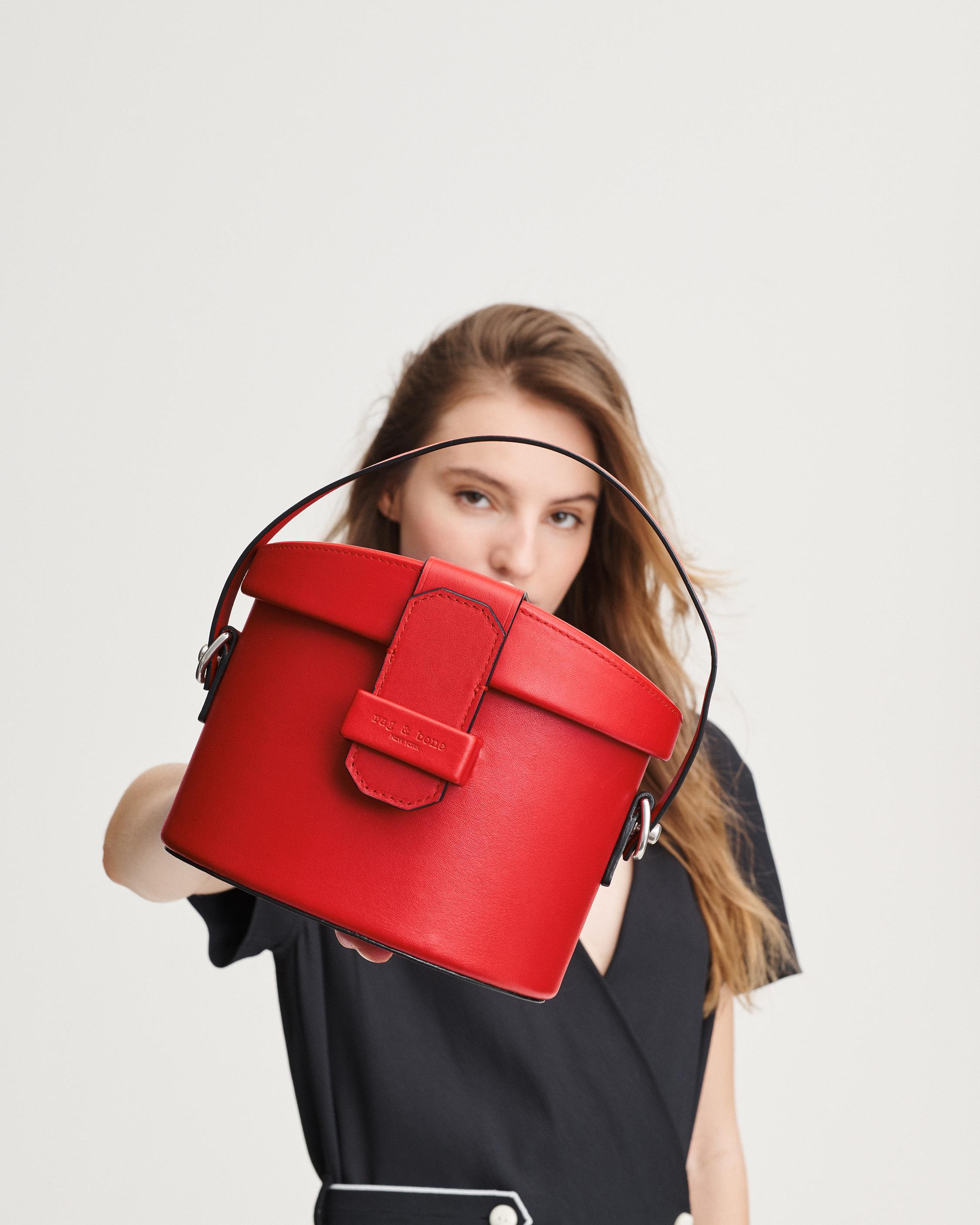Rag & Bone Barrow Binocular Bag in red from the Fall 2019 Collection
