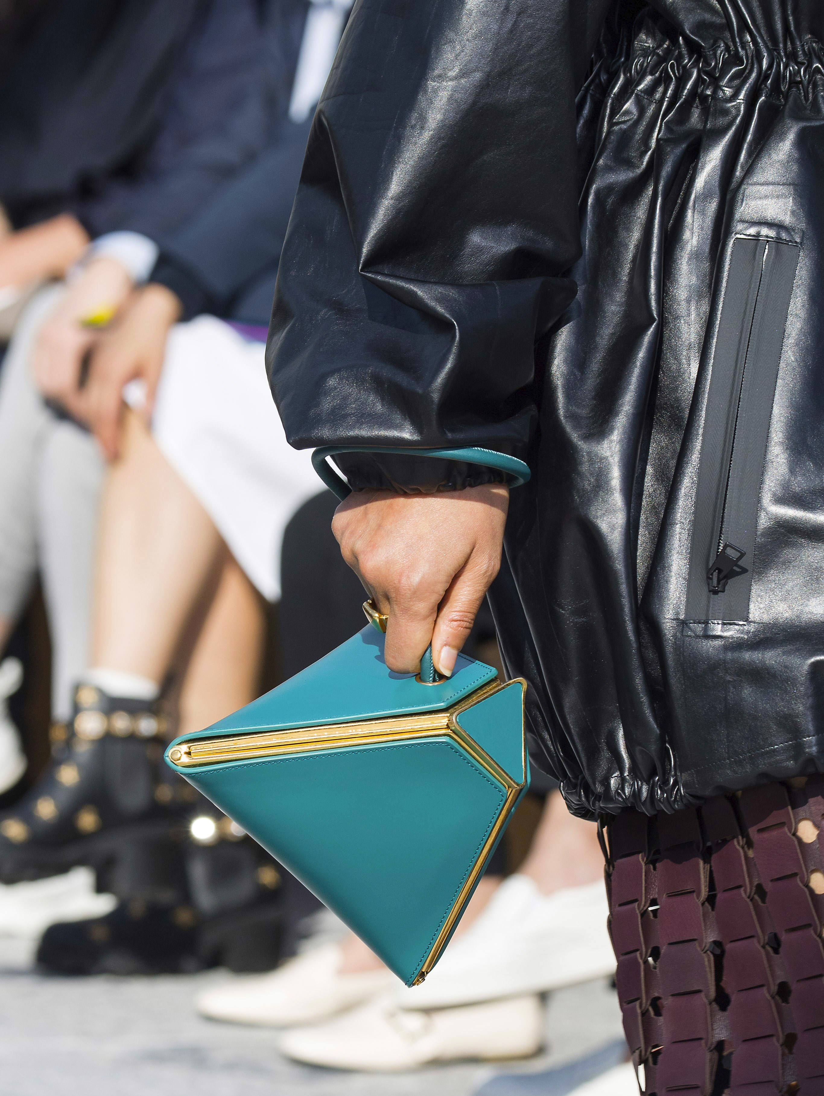 Green geometrical bag from the Bottega Veneta Fall 2019 Runway Bag Collection