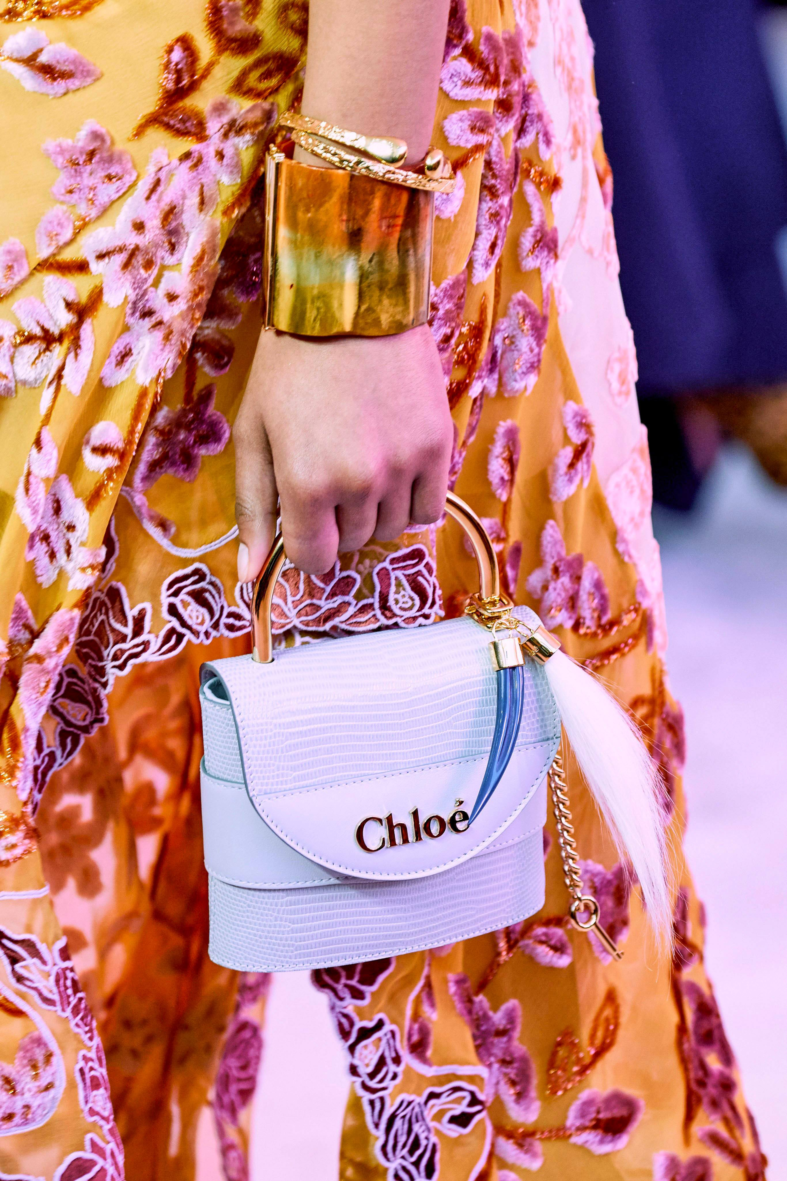 White mini top-handle bag from the Chloé Fall 2019 Runway Bag Collection