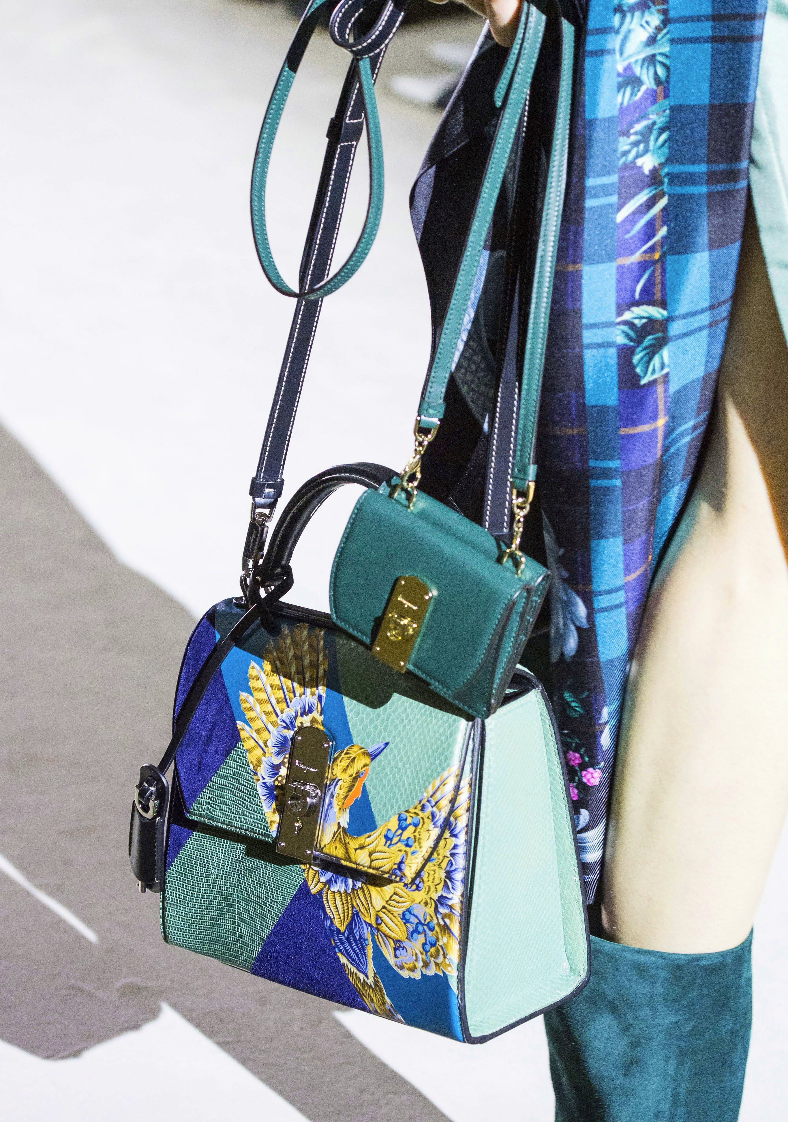 Salvatore Ferragamo boxyz printed bag from the Fall 2019 Runway Bag Collection