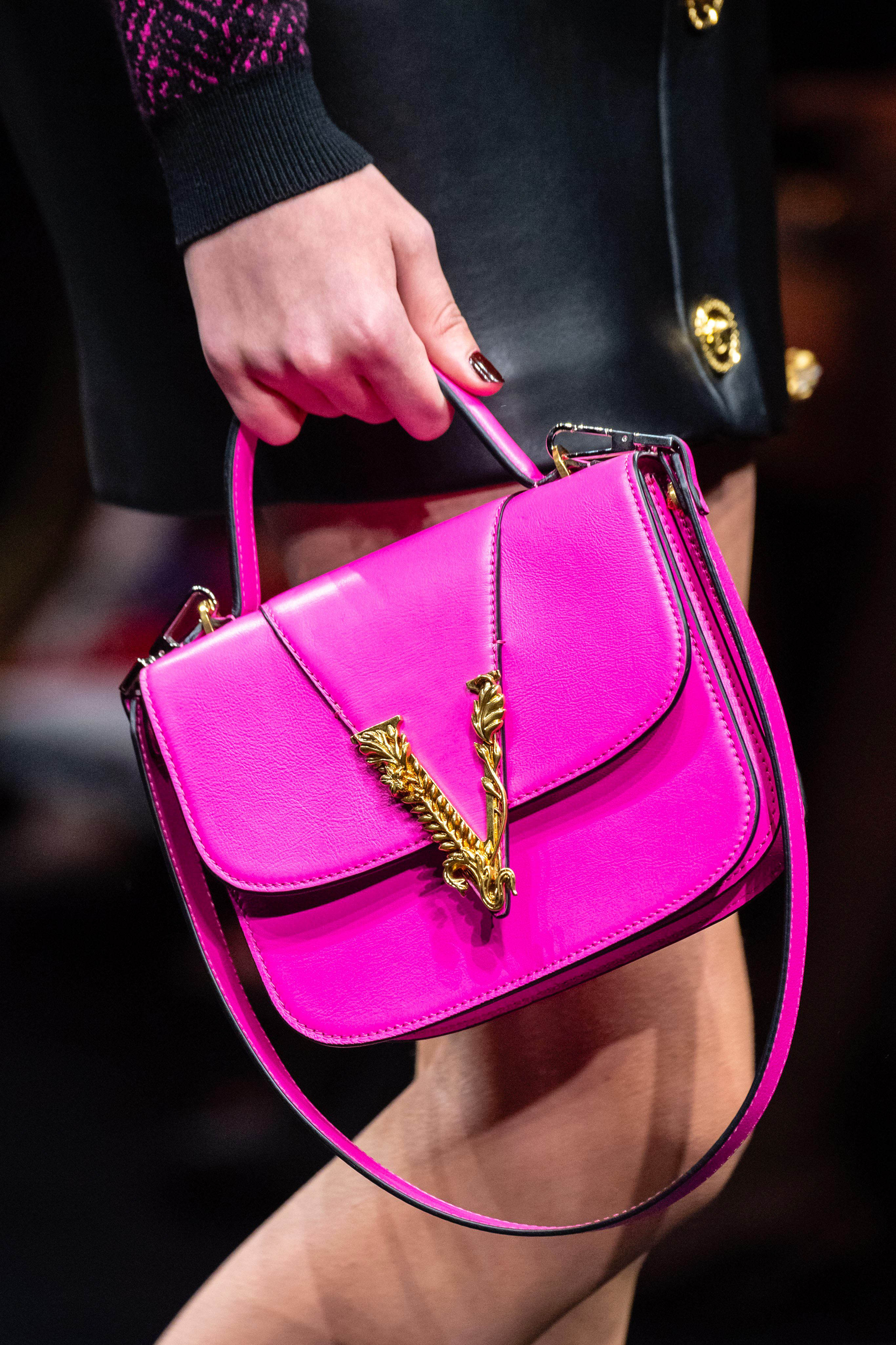 Versace fuchsia mini bag from the Fall 2019 Runway Collection
