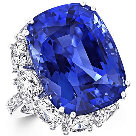 Graff High Jewelry 44.02 ct cushion-cut Sapphire and Diamond Ring