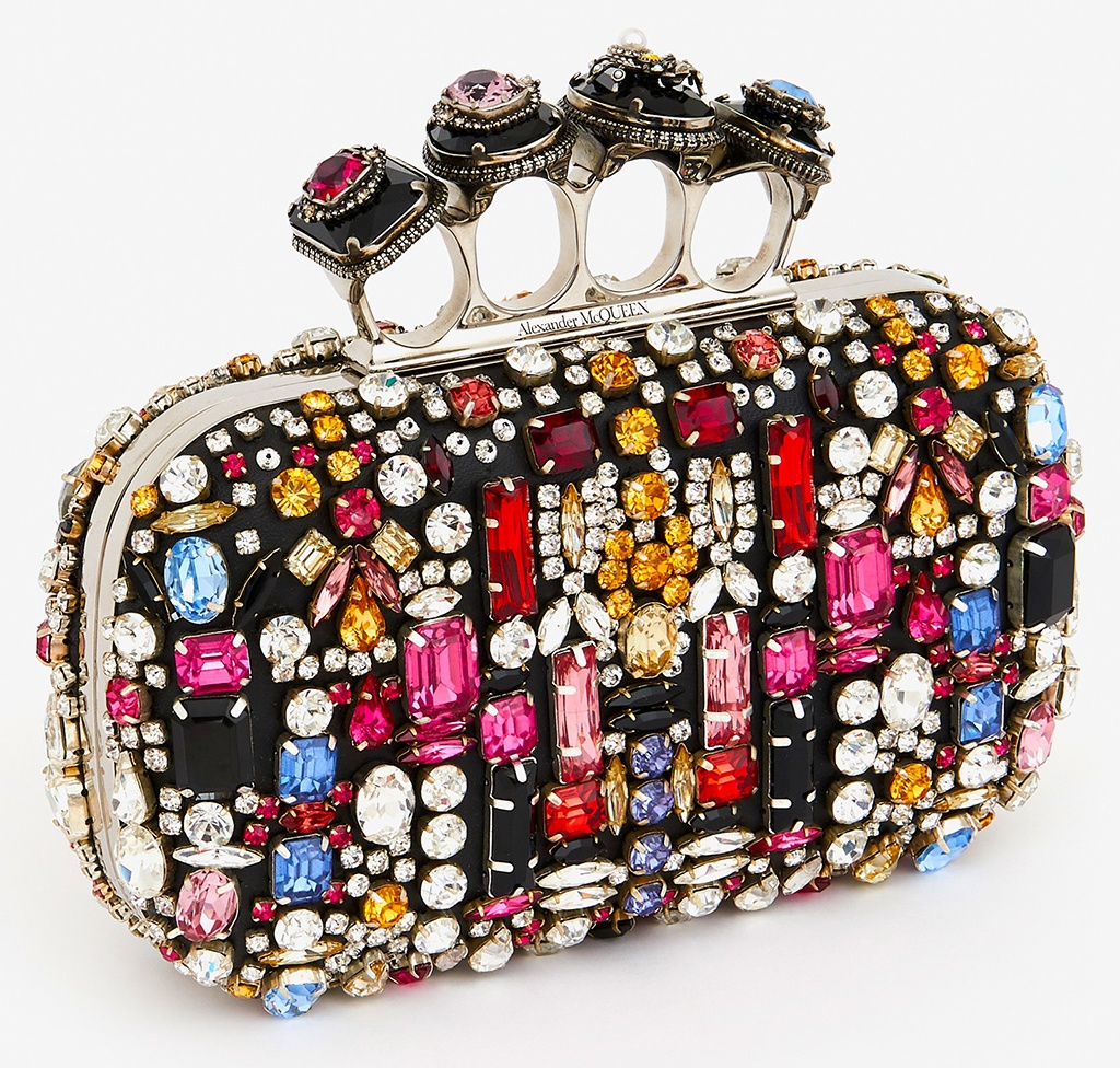 Alexander McQueen Jewelled Embroidery Four Ring Satin Box Clutch