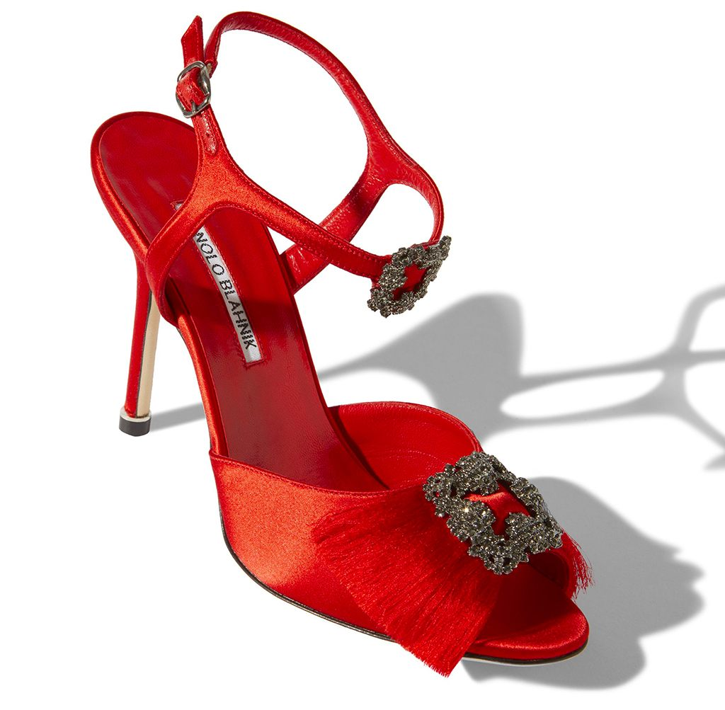 Manolo Blahnik Red Satin Crystal Buckle Sandal at Saks Fifth Avenue Bal Harbour