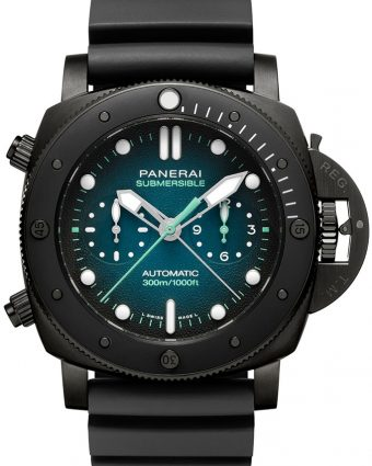 Panerai Guillaume Nery Special Edition EXPERIENCE Submersible 47mm Moorea Blue Gradient Dial with white markers.